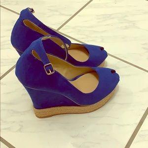 Royal blue suede espadrille wedges